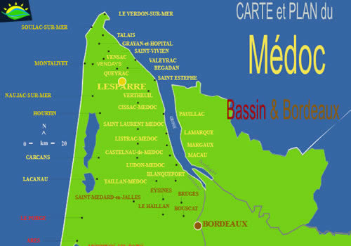 Map of the Medoc region in France